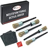 Master Detailing Brush Set - 5 Different Sizes - Free Microfiber Towel - Premium...