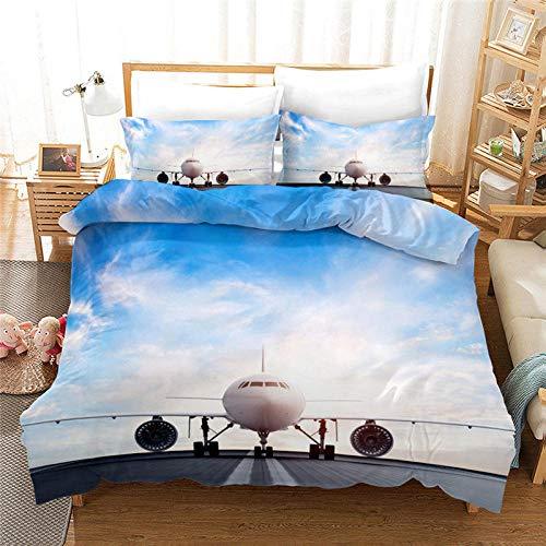 Meesovs® Sängklädesset flygplats plan avhämtning 3D-tryckta påslakan 2 örngott 50 x 75 cm täcke sängkläder set med dragkedja 100 % mikrofiber singelsäng 135 x 200 cm jul barnsängkläder