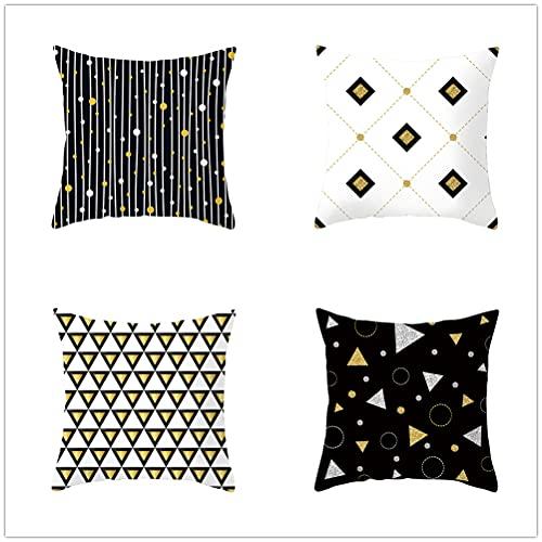 Niuqichongtian Funda de almohada clásica bronceadora patrón geométrico amarillo fundas de cojín coche sofá cintura almohada cubierta fiesta decoración TPR057-2TPR057-2
