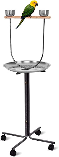 discount Giantex high quality 51'' Pet Bird Play Stand, Wood Bar Large Stainless Steel Tray Feeder Parrot Perch W/ 2 Feeding Bowls & Locking Wheels, Parrot Pet Bird new arrival Play T-Stand online sale