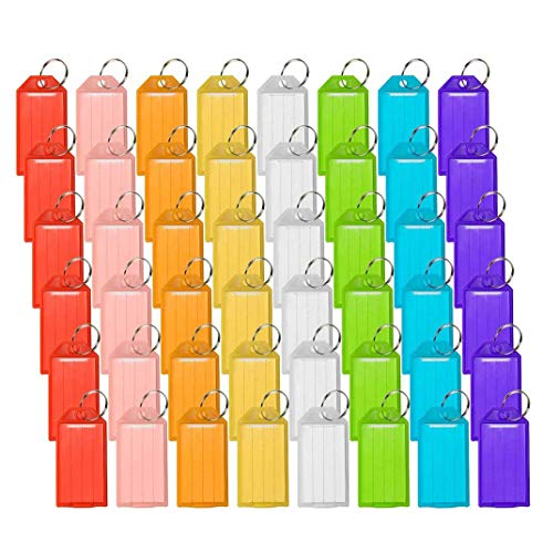 48 Pack Plastic Key Tags, Key Tags with Split Ring Labels, 8 Colors