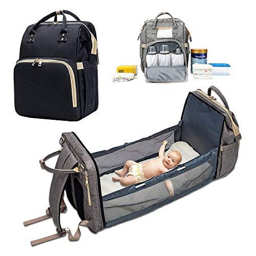 YANW Sac à Dos à Langer avec Lit à Langer, Lit Pliant Portable Multifonctionnel pour Bébé, Sacs...