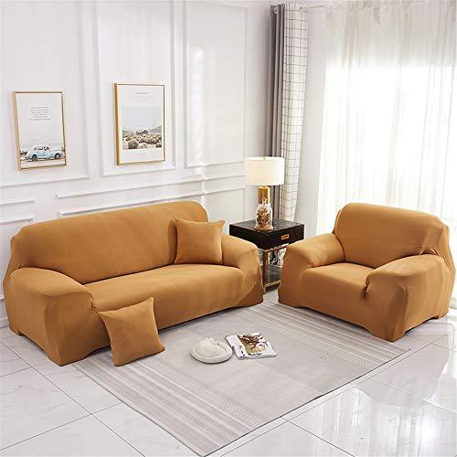 Surwin Funda de Sofá Elástica para Sofá de 1 2 3 4 plazas, Impresión Universal Cubierta de Sofá Cubre Moda Sofá Antideslizante Sofa Couch Cover Protector (Dorado,2 plazas - 145-185cm)