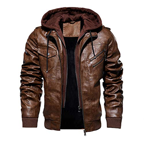 Sale!! Warm Coat for Men Winter Thicken Retro Hooded Faux Leather Motorcycle Jacket Fleece Fur Lined...