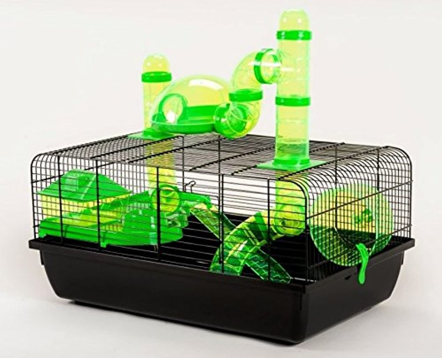 Little Friends Small Animal Cage  with Tubing and Accessories  Perfect for Hamsters and Other Animals of A Similar Size (Green)
