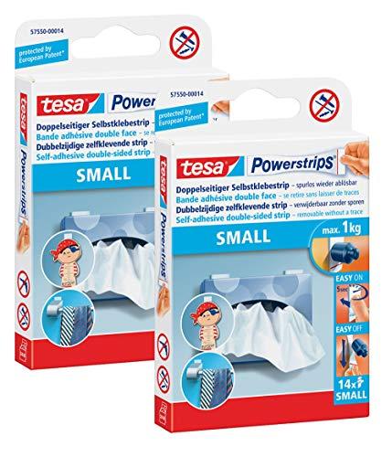 tesa Powerstrips Strips SMALL für max. 1kg, Packung mit 14 Strips (2 Packungen, SMALL)