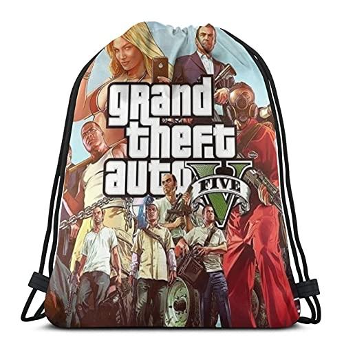 Bolsa de cordón Grand Theft Auto Sports Gym String Mochila Cinch Sackpack para la escuela, yoga, deporte, gimnasio, viajes para hombres y mujeres