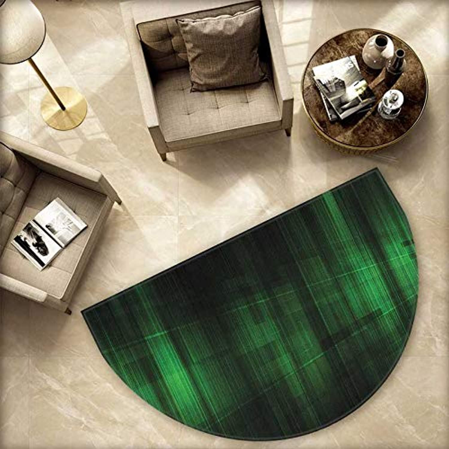 Forest Green Semicircle Doormat Vibrant Technology Pattern with greenical Lines Digital Technical Themed Print Halfmoon doormats H 78.7  xD 118.1  Green Black
