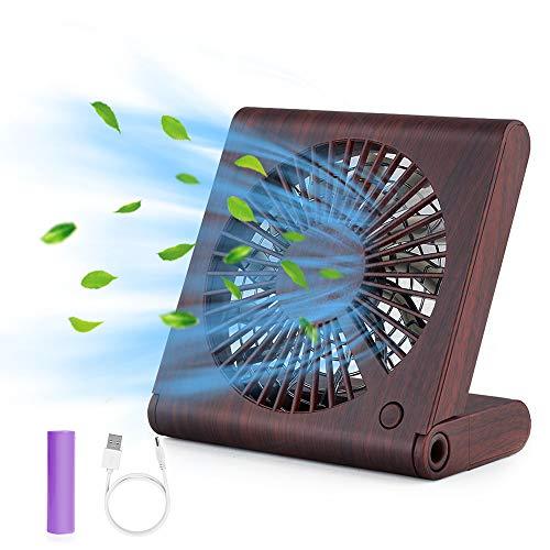 GeeRic Ventilador de Mesa, Mini Ventilador portátil USB, Ventilador Plegable silencioso para Home Office y Cuaderno de Viaje con 3 velocidades Marrón Claro