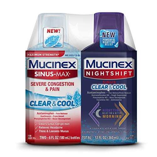 Maximum Strength Mucinex Sinus-Max Severe Congestion & Pain Clear & Cool & Mucinex Nightshift Sinus Clear & Cool Liquid Combo Pack, Multi-Symptom Relief with a Burst of Cooling Menthol (Set)