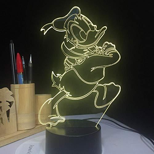3D Donald Duck nachtlampje, led, 7 kleuren, variabel touchbediening, afstandsbediening, kinderkamer, decoratieverlichting, baby, verjaardag, kerstcadeau