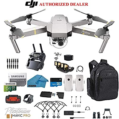 DJI Mavic Pro Platinum - Drone - Quadcopter - 4K Professional Camera Gimbal - Bundle - Kit - with 2 Batteries - with Must Have Accessories - with Backpack from dji mavic pro platinum