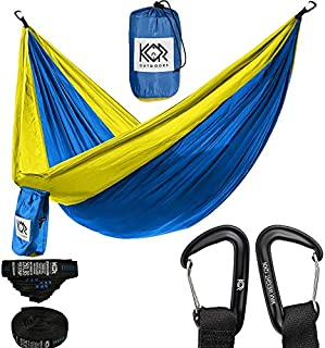 KOR Outdoors Tree Hammock with Upgraded Tree Straps & Carabiners (Blue with Yellow, Double)