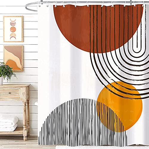 Miyotaa Mid Century Abstract Semicircle Shower Curtain Set 60Wx71H Inches Arch Sun Morden Geometric Minimalist Polyester Waterproof Cloth Bathroom Curtain with 12 Hooks