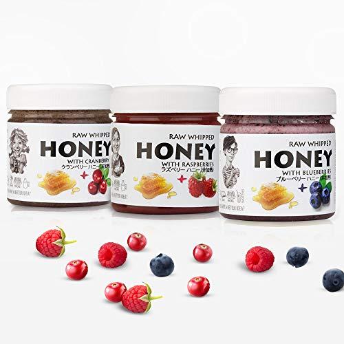【Amazon.co.jp 限定】非加熱 無殺菌 ハニー セット品 ラズベリー生はちみつ / クランベリー生はちみつ / ブルーベリー生はちみつ ギフトセット ワイルドベリーセット Berries Raw Honey Gift Set: Raw Honey