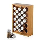 NEX Spice Rack Organizer, Bamboo Herb & Spice Shelf Stand Holder with 23 Glass Jars, 15.75 x 10.83...