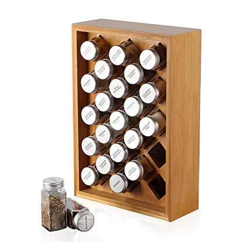 NEX Spice Rack Organizer Bamboo Herb amp Spice Shelf Stand holder with 23 Glass Jars 1575 x 1083 inches