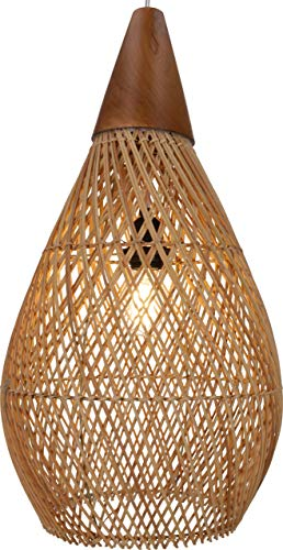 Guru-Shop Lámpara de Techo Grande, Hecha a Mano en Bali con Material Natural, Ratán - Modelo Manduka, 60x30x30 cm, Lámparas Colgantes de Materiales Naturales
