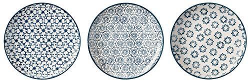Bloomingville kleine Teller Kristina, saphirblau, Keramik, 3er Set