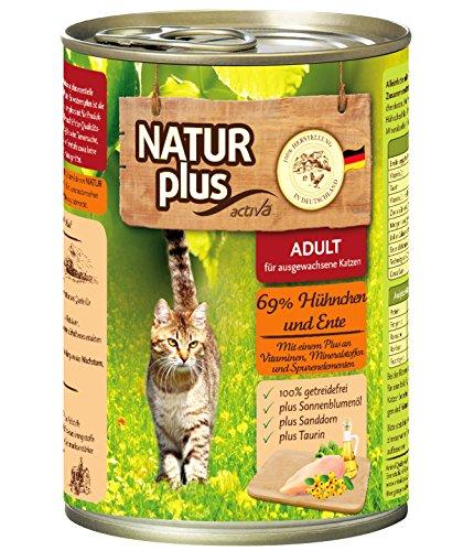 NATUR plus Katzenfutter ADULT mit 69% Hühnchen & Ente - getreidefrei - 6 x 400 g