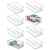 mDesign Stackable Plastic Storage Organizer Container Bin with Handles for Bathroom - Holds Vitamins, Pills, Supplements, Essential Oils, Medical Supplies, First Aid Supplies - 3' High, 8 Pack - Clear