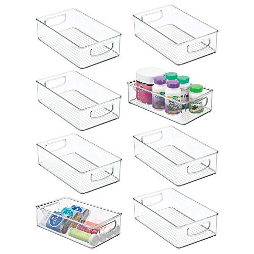 mDesign Stackable Plastic Storage Organizer Container Bin with Handles for Bathroom - Holds Vitamins Pills Supplements Essential Oils Medical Supplies First Aid Supplies - 3 High 8 Pack - Clear