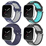 iHillon 4 Pack Compatible with Fitbit Versa Bands/Fitbit Versa 2 Bands for Men Women, (5.5'-7.9') Soft Silicone Sport Wristbands Compatible with Fitbit Versa Lite Bands/Fitbit Versa 1 Bands