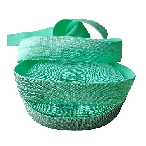 5/8 Inch - Fold Over Elastics - 5 Yard Roll Foes are Great for DIY Crafts, Hairbands, Elastic Ribbons and Sewing Projects. (Aquamarine Blue)