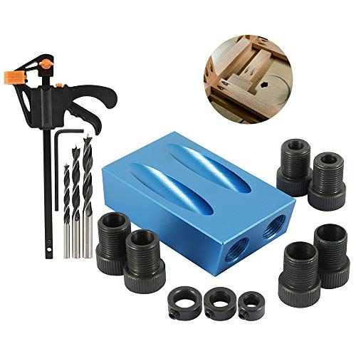 15Pcs 15 Degree Pocket Hole Screw Jig Dowel Drill Joinery Kit Carpenters Wood Woodwork Guides Angle Tool 6/8/10mm (1 Set)