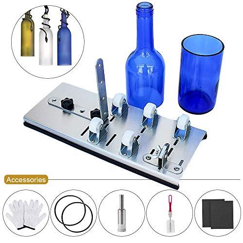 Souarts Glassnijderset voor flessen, cuttermes, snijden van glazen flessen, praktisch, professioneel, knutselen, recyclinggereedschap, handwerk, cutter met 5 wielen, vergrendelbaar