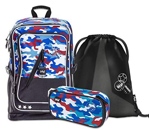 Schulrucksack Set Jungen 3 Teilig, Schultasche ab 3. Klasse, Grundschule Ranzen mit Brustgurt, Ergonomischer Schulranzen (Camouflage)