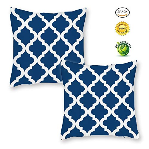 BYRON HOYLE Pack of 2 Quatrefoil Navy Blue Trellis Modern Accent Home Decorative Throw Pillow Cover Cotton Farmhouse Geometric Cushion Cover Square for Sofa Bed Couch Car 18x18 Inches