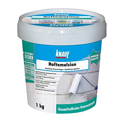 Knauf Haft-Emulsion für Innen- und Außen-Bereich, 1 kg – Universal-Grundierung, Putz-Haftgrund zum Grundieren von stark saugenden Untergründen vor Putz- und Spachtel-Arbeiten