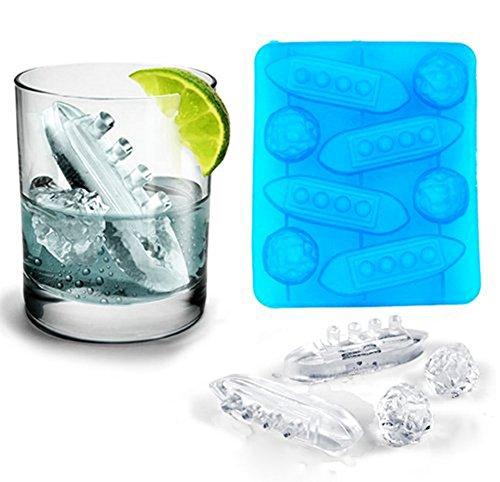 Daliuing Ice Tray Titanic Shape stampo in silicone per ghiaccio 8scomparti ideale per acqua whiskey cocktail e altre bevande