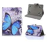 Unversale Hülle 7-8 Zoll, TASVICOO Unversale Tablet Schutzhülle Buchstyle Cover Standfunktion für alle 7/7,85/7,9/8 Zoll Tablet(Schmetterling)