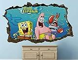 QULIN Pegatinas de pared 3D Vinilo infantil Bob Esponja Patricio Estrella Cangrejo rompió la etiqueta engomada del vinilo del arte 3d