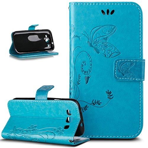 Kompatibel mit Galaxy S3 Neo Hülle,Galaxy S3 Hülle,Prägung Schmetterling Blumen PU Lederhülle Flip Hülle Cover Ständer Etui Karten Slot Wallet Tasche Hülle Schutzhülle für Galaxy S3 / S3 Neo,Blau