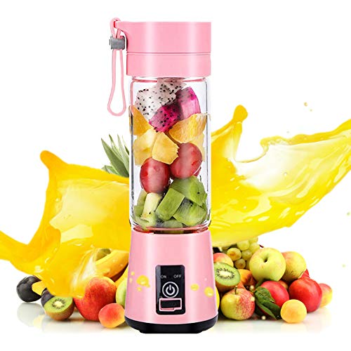 Shinyeagle Licuadora portátil, USB batido de frutas, recargable para batidos mezclados Jugo de frutas Seis cuchillas Ideal para mezclar (Pink)