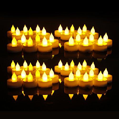 EverBrite Candele a LED 48pcs Lumini da Tè Tealight Elettrica Luce Calda Senza Fiamme con Batterie Adatte per Decorazione di Casa, Compleanno, Matrimonio, Natale, Halloween ecc