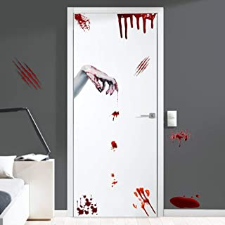 Halloween Bloody Handprints Decals, Scary Bloodstains Wall Window Decals, Ghost Zombie Hands Sticker for Door, Halloween Party Decoration