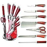 Imperial Collection - Juego de cuchillos con bloque de cuchillos (5 piezas, muy afilados, antiadherentes, con un gran agarre)