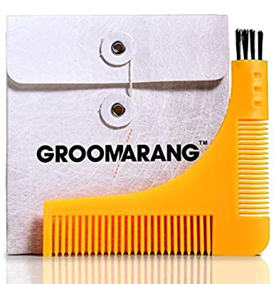 Beard Shaper GROOMARANG Beard Shaping Tool for Neckline, Cheek Line & Jaw Line - Features Beard Stencil, Double Ended Beard Comb & Brush End from Groomarang