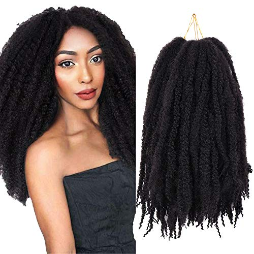 3 Packungen natürlich schwarzes Marley Twist Haare Crochet Afro Marley Kinky lockige Extensions synthetisches Material (18 Zoll,1B#)