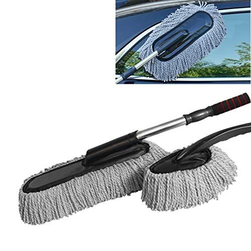 Auto-Reinigungs-Tools Cotton Bürste Mop mit Auto-Wasch Retractable Edelstahlrohr QiuGe (Color : Grey)