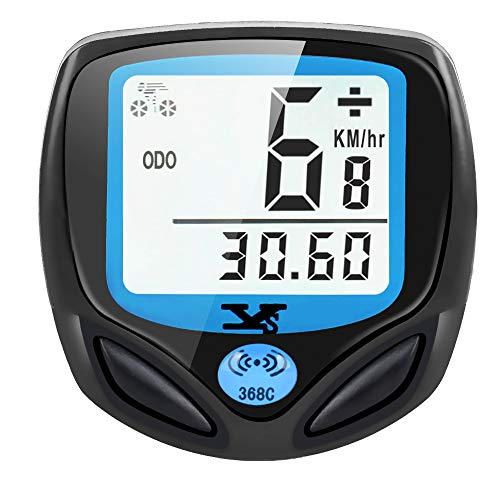 DINOKA Bike Speedometer Wireless, Waterproof Bike Computer and Bicycle Odometer with Automatic Wake-up Multi-Function LCD Backlight Display
