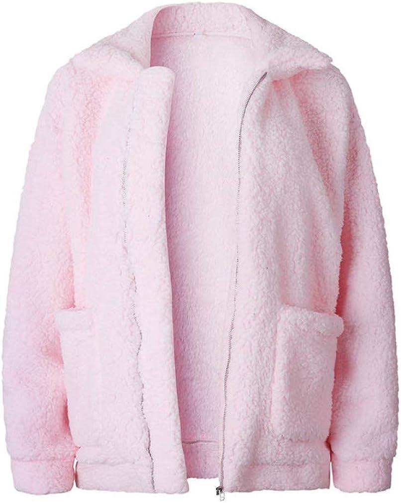 LUCACO Women's Fashion Long Sleeve Lapel Zip Up Faux Shearling Shaggy Oversized Coat Jacket with Pockets Warm Winter