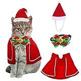 QIMMU Katze Hund Weihnachten Halsbänder,Hut Kragen mit Glocke, Weihnachten Haustier Umhang für...