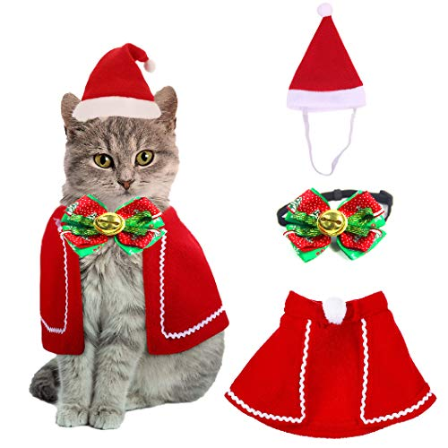 QIMMU Katze Hund Weihnachten Halsbänder,Hut Kragen mit Glocke, Weihnachten Haustier Umhang für Santa Cat Santa Kleidung mit Glocken für Hunde und Kätzchen Haustier Süßes Geschenk