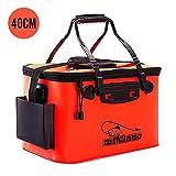 バッカン 釣りバケツ 屋外折りたたみ EVA製 ポータブル キャンプ用 洗濯用 水桶 選ぶ アウトドアに最適 (Orange, 23L)
