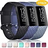 Pack 3 Silicone Bands for Fitbit Charge 4 / Fitbit Charge 3 / Charge 3 SE Replacement Wristbands for Women Men Small Large(Without Tracker) (Small: for 5.5'-7.1' Wrists, Black+Navy Blue+Slate Grey)